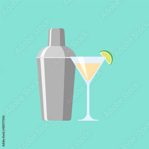 Canvas Print Shaker with cocktail. Illustration flat design style