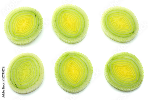 Fotografía  sliced leek isolated on white background top view