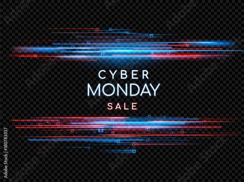Cyber Monday. Promotional online sale event. Vector technology illustration. Neon light sign with with neon lines, geometric figures. Futuristic label design. Luminous cyber hologram
