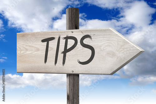 Tips - wooden signpost with one arrow - Buy this stock