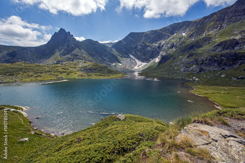 Aluminium Prints Amazing landscape of The Twin lake, The Seven Rila Lakes, Bulgaria