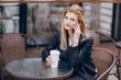 beautiful blonde in cafe