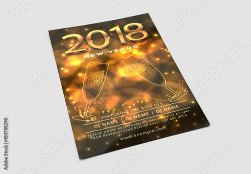 new years eve party invitation with golden champagne glasses