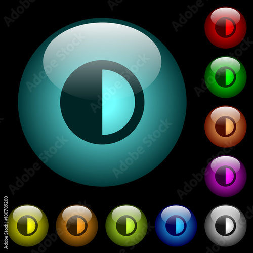 Contrast control icons in color illuminated glass buttons Wallpaper Mural