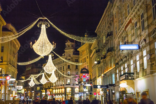 Graben street by night in Vienna, Austria
