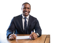 Charming Cheerful Smiling Financial Bank Sales Loan Representative For Money Management At Desk With Suit