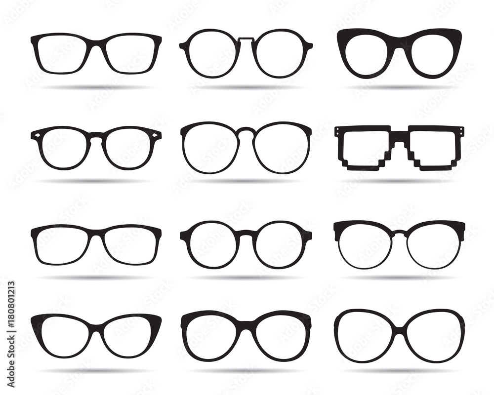 Fototapety, obrazy: A set of glasses isolated. Vector Icons.