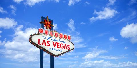 Fototapeta Welcome to fabulous Las Vegas Nevada sign on blue sky background