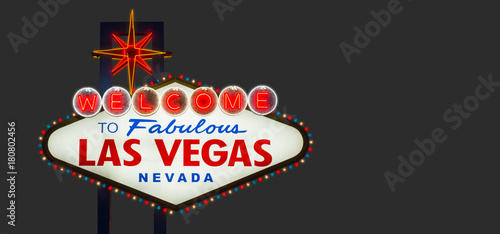 Poster Las Vegas Welcome to fabulous Las Vegas Nevada sign on gray background