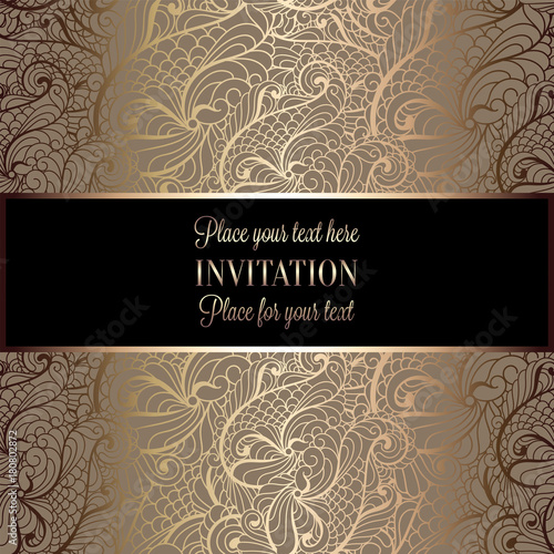 Baroque Background With Antique Luxury Black And Gold Vintage Frame