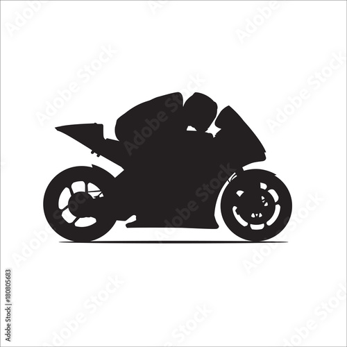 motorcycle racing vector silhouette - Buy this stock vector and