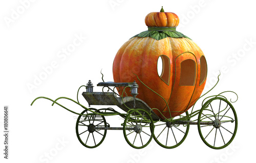Fotografie, Obraz Beautiful Princess carriage isolated on white. 3D Render.