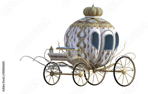 Photo Beautiful Princess carriage isolated on white. 3D Render.