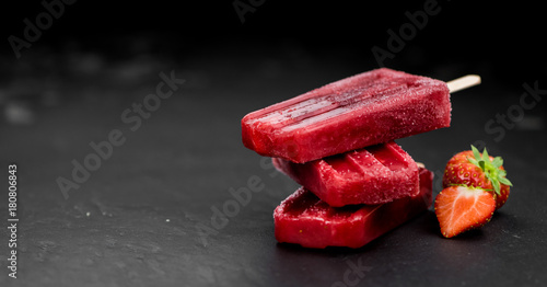 Strawberry Popsicles (close-up shot)