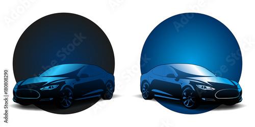 Fotografie, Obraz  voiture sport électrique logo badge vecteur vectoriel illustration (auto model e