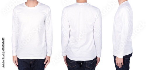 фотография  man in white long sleeve t-shirt isolated on white background