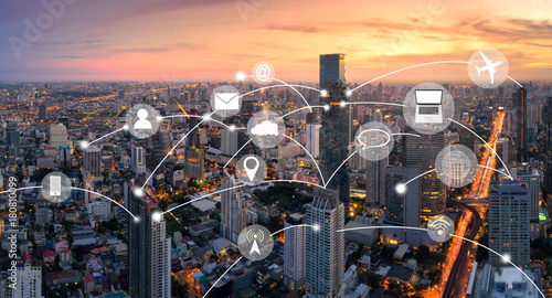 Aerial view panorama of Bangkok with network connection concept and technology i Wallpaper Mural