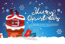 Santa Claus Stack In Chimney Merry Christmas And Happy New Year Banner With Copy Space Flat Vector Illustration