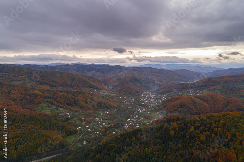 Foto op Canvas Lavendel Autumn in Carpathian mountains