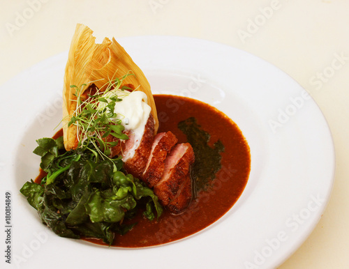 Fototapeta Gourmet Elevated Duck Tamale with Red Chile obraz