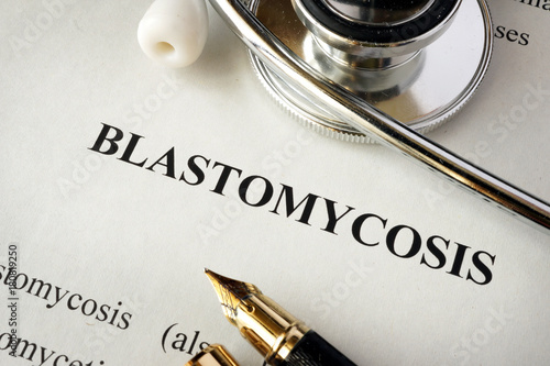Document with word Blastomycosis in a hospital. Canvas Print