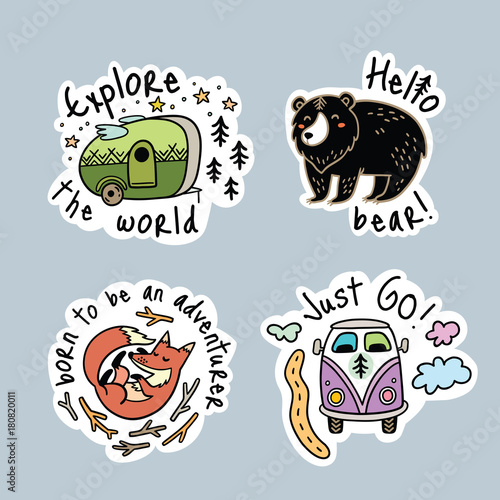 Photo  Vector set of cartoon stickers, patches or pins for camping
