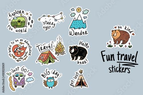 Photo  Big vector set of cartoon sticker for camping