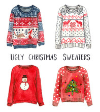 Ugly Christmas Sweaters. Watercolor Fashion Sketches. Isolated Elements.
