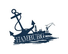 Anchor, Lighthouse, Ship And Crane Icons On Brush Stroke. Calligraphy Inscription. Hamburg City Name Text