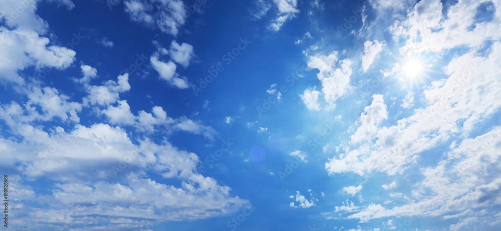 Fototapety, obrazy: 太陽と青空と雲-ワイド