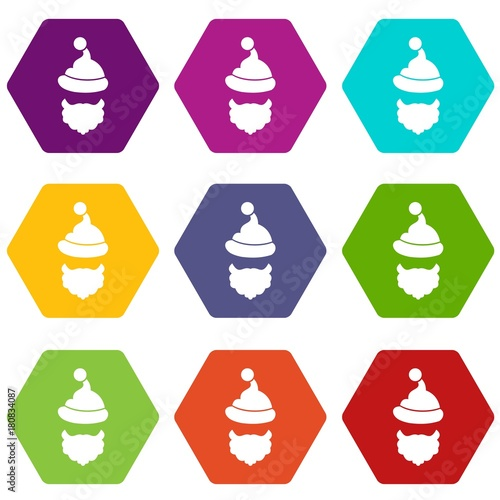 Fototapety, obrazy: Santa Claus hat and beard icon set color hexahedron