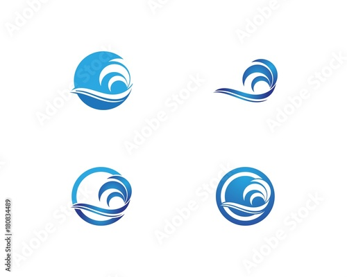 Papiers peints Eau Nature wave set logo design template