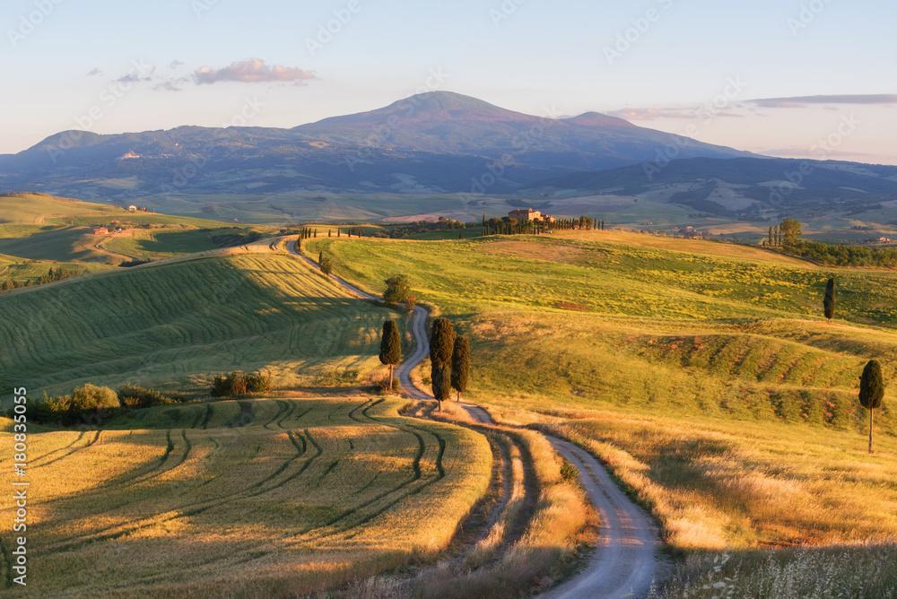Fototapety, obrazy: Wspaniały wiosenny krajobraz o zachodzie słońca, piękne złote pola i łąki, Toskania, Włochy