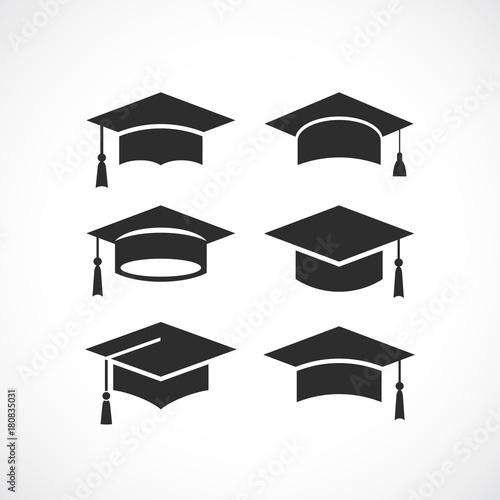 Carta da parati  Graduation student black cap silhouette icon