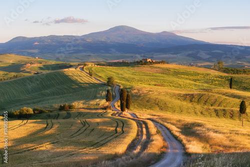 Obraz Wspaniały wiosenny krajobraz o zachodzie słońca, piękne złote pola i łąki, Toskania, Włochy - fototapety do salonu