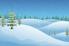 Winter Landscape With Fir Trees And Snowy Hills