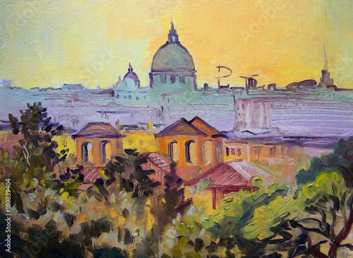 Basilica Sant Pietro panoramic painting, Rome, Italy.
