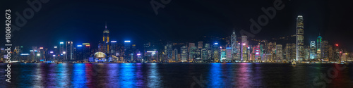 Fotomural Colorful panoramic view of Hong Kong skyline on night time seen from Kowloon