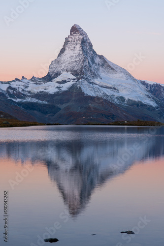lake Stellisee Matterhorn , Zermatt , Switzerland. Canvas Print