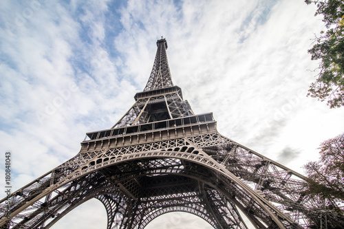 Fototapeta Paris, France - November, 2017. Eiffel tower on sunny day. Paris Best tourist Destinations in Europe obraz na płótnie