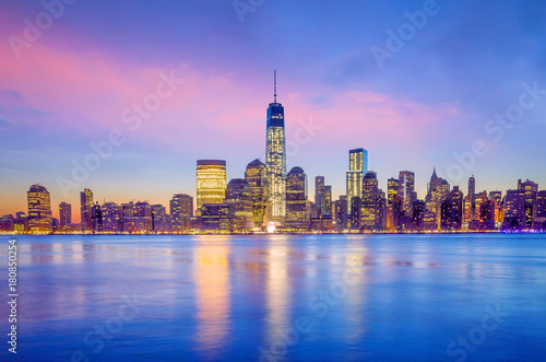 Printed kitchen splashbacks Purple Manhattan Skyline