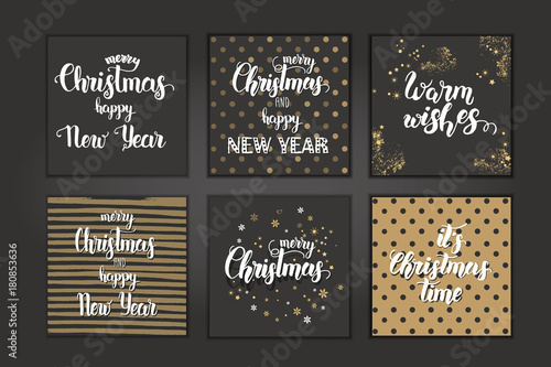 christmas cards with hand made trendy lettering merry christmas and happy new year let