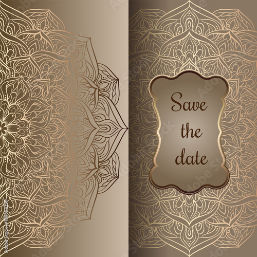Romantic Background With Antique Luxury Beige And Gold Vintage