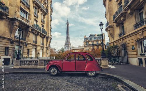 Aluminium Prints Paris Avenue de Camoens in Paris with red retro car