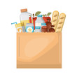 paper bag with market of food and drinks