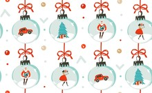 Hand Drawn Vector Abstract Fun Merry Christmas Time Cartoon Illustration Seamless Pattern With Christmas Vintage Tree Toys,people And Santa Claus Isolated On White Background