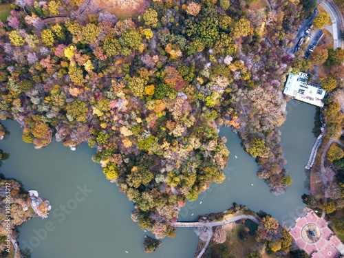 Stampa su Tela Aerial view of Central park lake in autumn