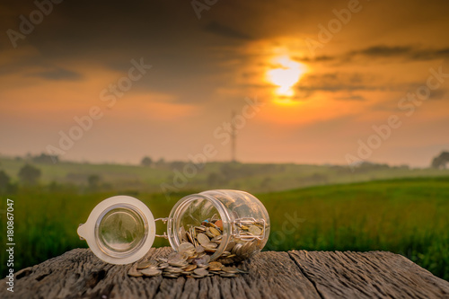 Papiers peints Morning Glory Coins in jar on old wood with blurred background.