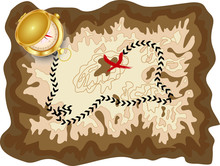 A Pirate Old Map On A Yellow Parchment With A Marked Route And A Red Mark With A Golden Compass Lying On It, Encrypted Messages