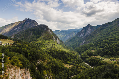 Fotobehang Bos rivier View from the Djurdjevic bridge to the Tara cone, a beautiful mountain landscape
